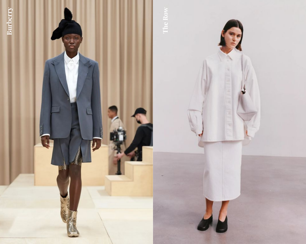 Fall 2021 Shopping Guide for Women White Button-Up Shirt Burberry Grey Suit The Row Monochrome Outfit